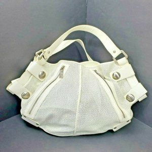 Kooba White Patent Satchel Cut Out Perforated